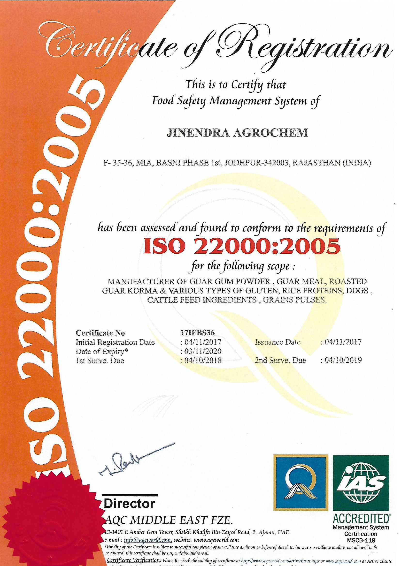 ISO 22000:2015 Certificate